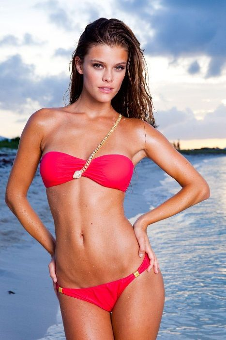 Nina Agdal, Swimsuit model posing during a photoshoot with Sports Illustrated