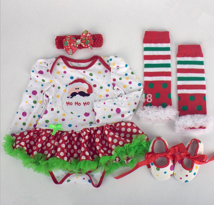 Детские комбинезоны с платье длинный рукав одежда младенцы ползунки + head лента + обувь + леггинсы 4 шт / комплект