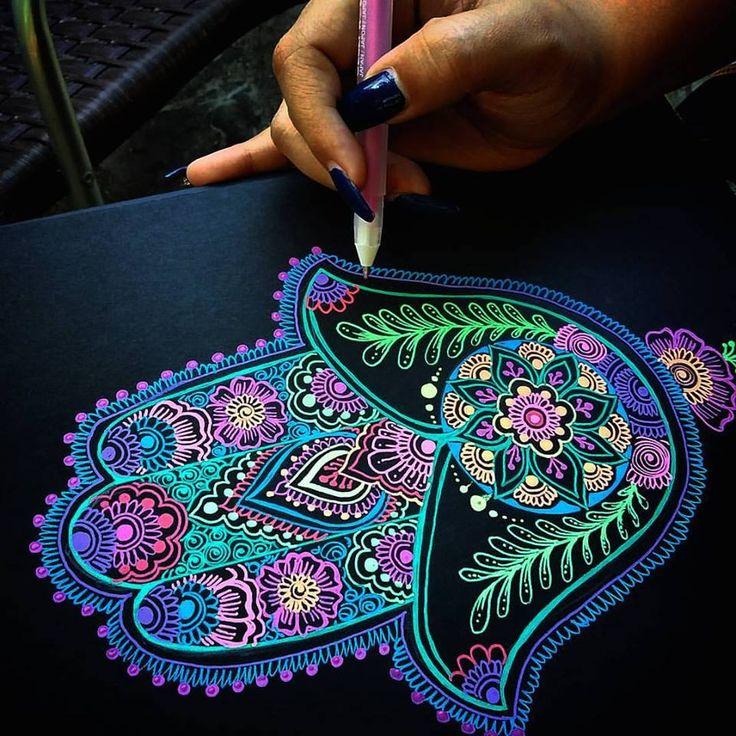 Art by Shantall Alam - Black Paper | Gelly Roll pens (Sakura)