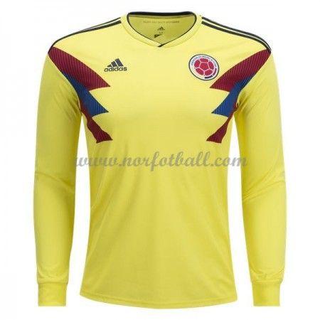 Billige Colombia Drakt VM 2018 Langermet Hjemme Fotballdrakter