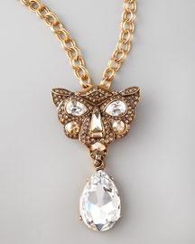 Oscar de la Renta Crystal Panther Brooch-Pendant Necklace