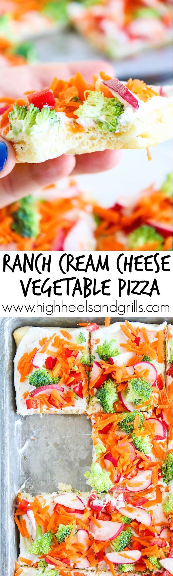 Ranch Cream Cheese Vegetable Pizza - We made this for my daughter's birthday party and everyone loved it! It is so easy to make and tastes amazing! http://www.highheelsandgrills.com/ranch-cream-cheese-vegetable-pizza #NaturallyClean #ad