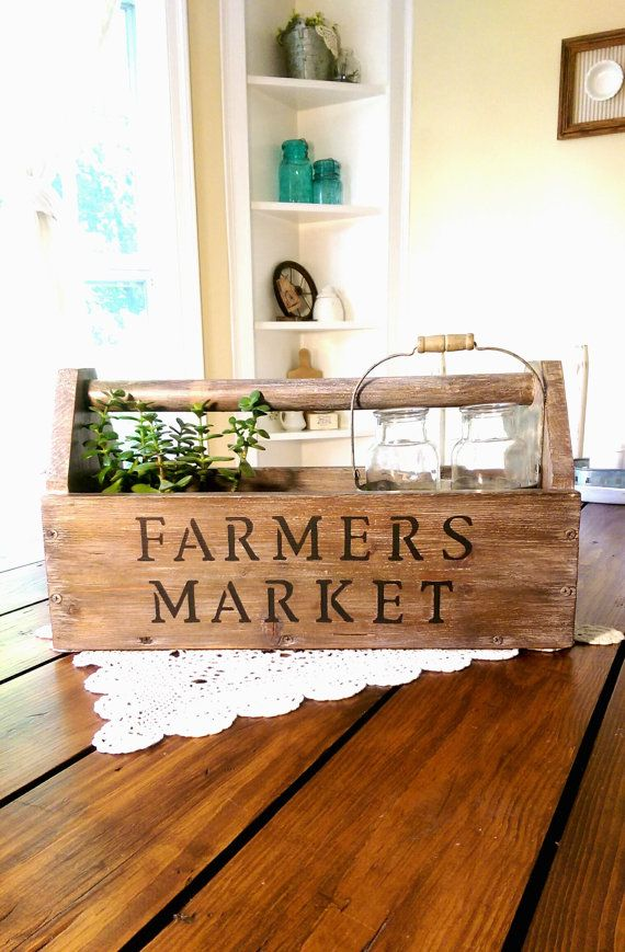 Old Vintage Farmers Market Wooden Toolbox by PickinWildflowersTN