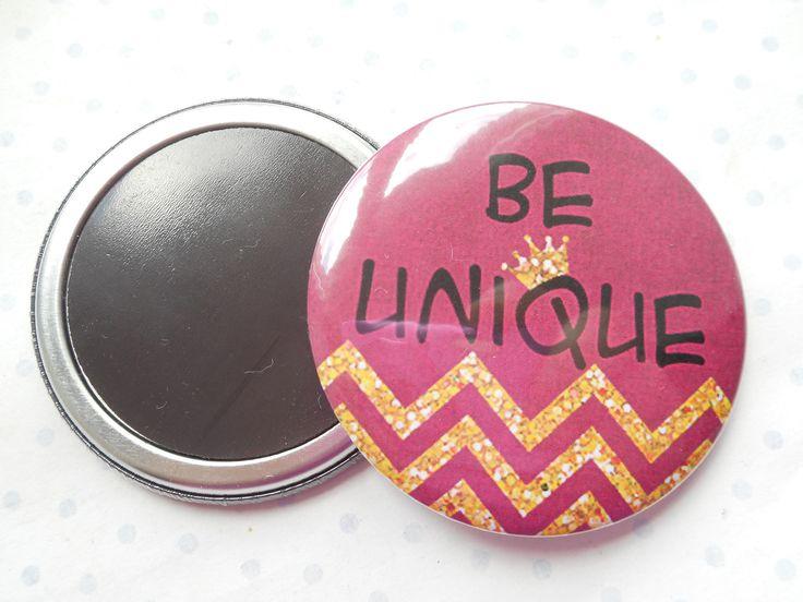 """Grand magnet 56 mm """"be unique"""" prune, doré, paillettes, couronne, chevrons : Accessoires de maison par miss-coopecoll"""