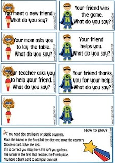 FHE: mind your super manners lesson--complete with game, badges, cards and game