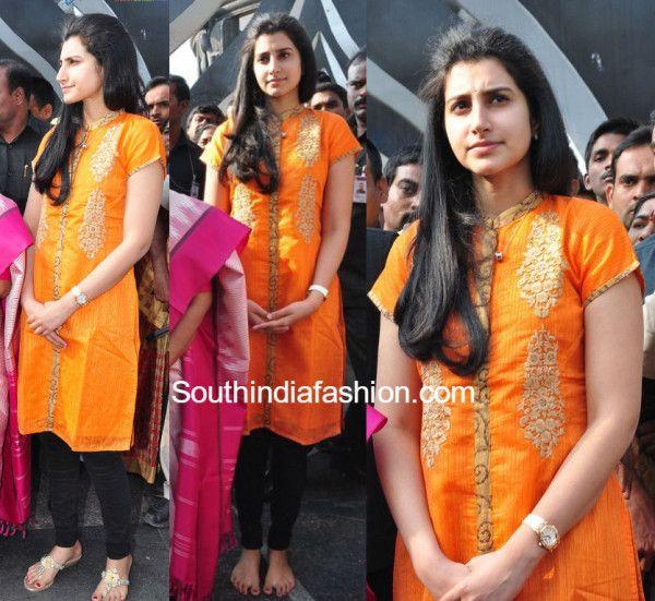 nara_brahmini_at_ntrghat_yellow_dress