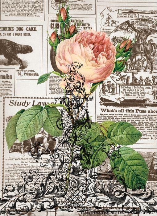 Винтажные цветы на страницах...ретро-принты.. Обсуждение на LiveInternet - Российский Сервис Онлайн-Дневников