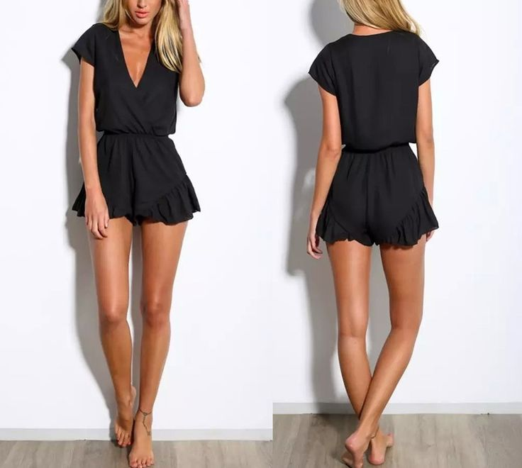 Women's Casual Playsuit to look sexy no matter where you are going. Wear with pumps and patterned tights for a cool street style look. Add heels and a clutch to wear out in the evening or pop on sandals and a bangle to wear to the beach, This all black playsuit is so versatile!