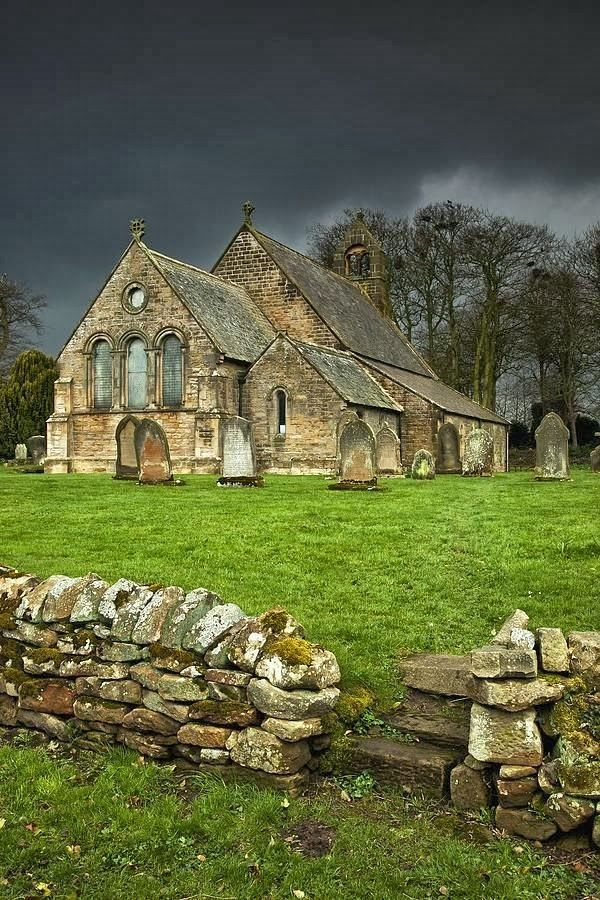 An Old Church Under A Dark Sky Northumberland, England