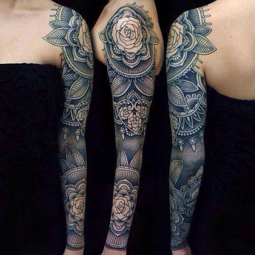 arm and shoulder flower tattoo | Sleeve tattoos | Pinterest | Tattoo, Body art and Bodies