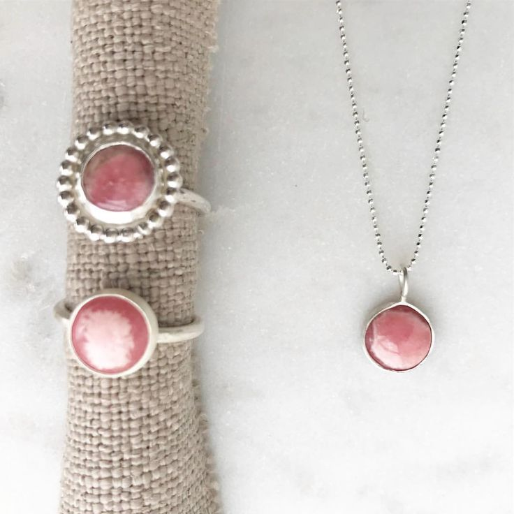 """13 Likes, 5 Comments - MARINA SAKER JEWELLERY (@marinasakerjewellery) on Instagram: """"Rhodochrosite Gemstone Rings and Necklace. Just love this gemstone! Will be up on my website soon 🌸🌟"""""""