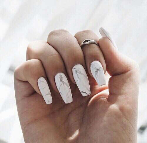 Marble nails #marble #nails #longnails #white #luxury