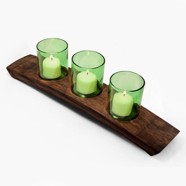Arctic Votive 3 Green Candle Holder $45  made from reclaimed wine cooler bottles and wine barrel slats