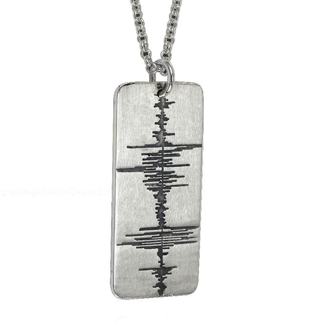 Soundwave Dog Tag     Sterling Silver oxidized 'Custom Recording' Soundwave Necklace      $375