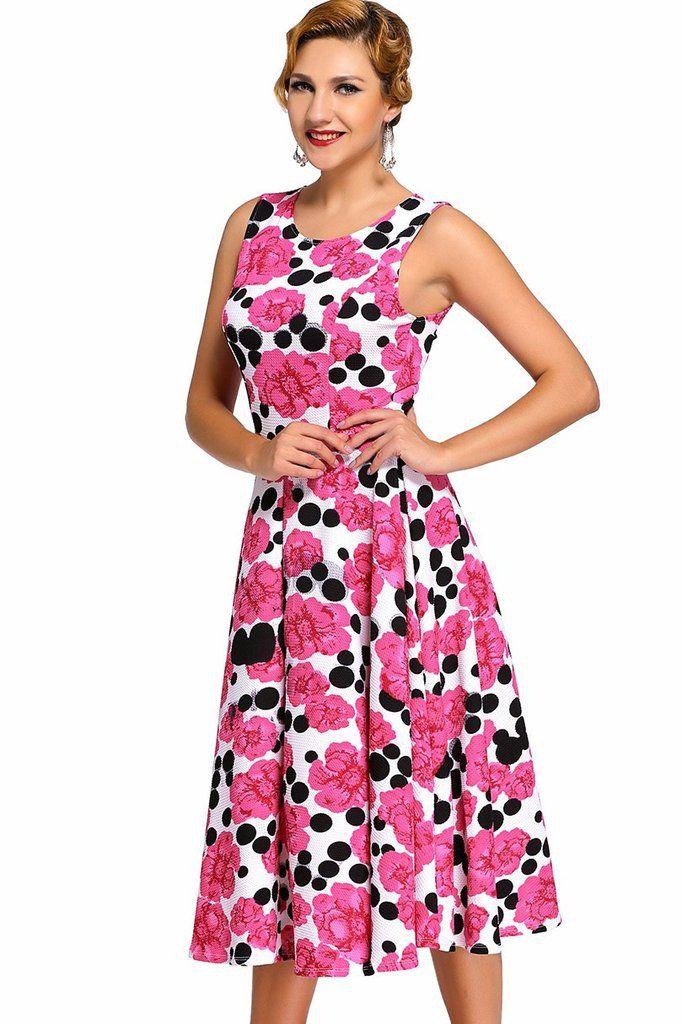 Robes Vintage Feminin Rose Floral Noir Dot BalanУЇoire Robe Patineuse