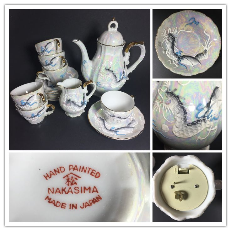 """Japanese Dragonware tea set with music box tea pot. Hand painted Nakasima Made in Japan. The tune is Sakura Sakura also known as """"Sakura"""" and is a traditional Japanese folk song depicting spring, the season of cherry blossoms."""