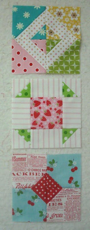 These use the easy triangle methodCute Quilts, Lou Weidman, Quilt Blocks, Decorating Crafts, Bright Colors, Triangles Method, Easy Triangles, Farmers Wife, Mary Lou
