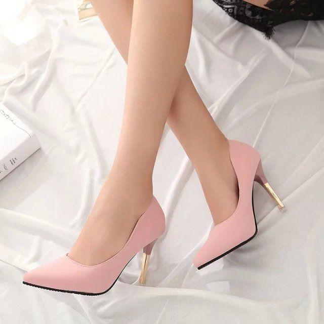 2015 летние элегантные ол обувь одного мелкая рот острым носом туфли на высоком каблуке тонкие каблуки сексуальные розовые женские туфли на высоком каблуке