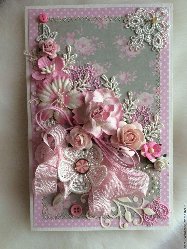 Купить Свадебная открытка - бледно-розовый, Открытка ручной работы, открытка, открытка на день рождения
