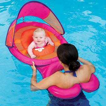 SwimWays Baby Spring Float Sun Canopy Mommy and Me baby float - $34.95. Has a detachable float ring for parents so you can float face-to-face with your baby. Choose from pink flower or blue whale styles.