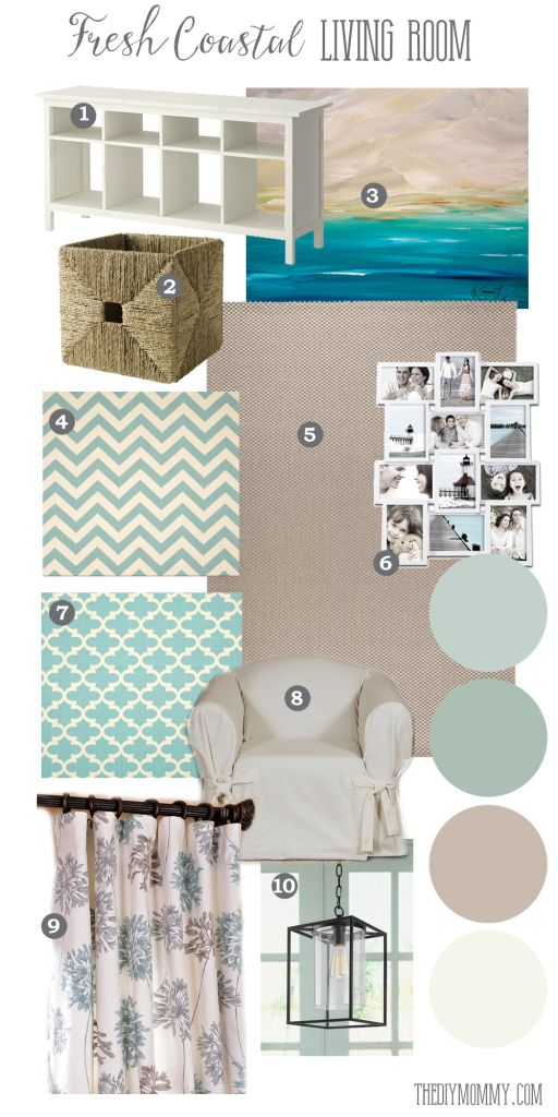 Going coastal reader mood board a fresh coastal living room with affordable pieces easy clean items for a kid friendly space and light and bright
