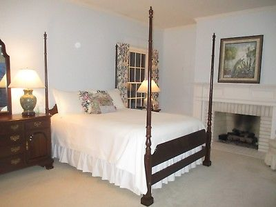 ETHAN-ALLEN-Georgian-Court-Queen-Bed-225-Finish-Headboard-Footboards-Siderails