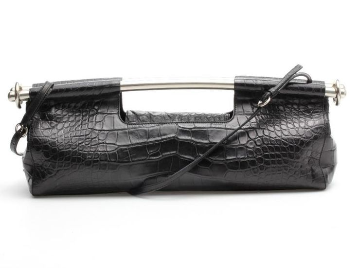Prada Black Crocodile & Silver Bar Clutch Bag #Prada #Clutch
