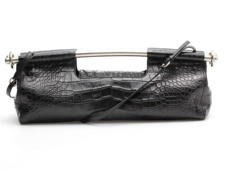 Prada Black Crocodile & Silver Bar Clutch Bag #Prada #Clutch