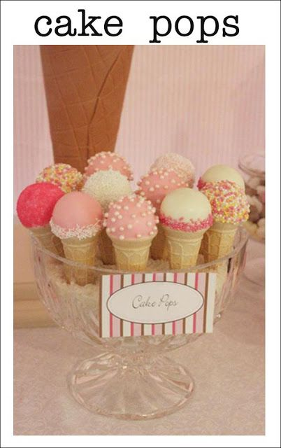 Mini Ice cream cone Cake Pops-How darling!