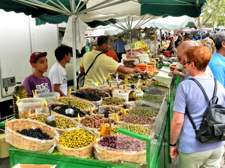 A wonderful array of olives at the produce market in Arles, France.