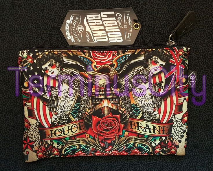 #LIQUOR #BRAND #COSMETIC #BAG #LongLiveTheQueen #American #Flag #Union #Jack #Tattoo #Makeup #LiquorBrand