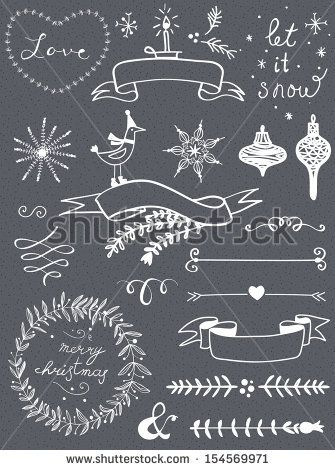 Christmas doodle chalkboard graphic set: deer head, hearts, laurel, wreaths, snowflakes, ribbons and labels. by Le Chernina, via ShutterStoc...