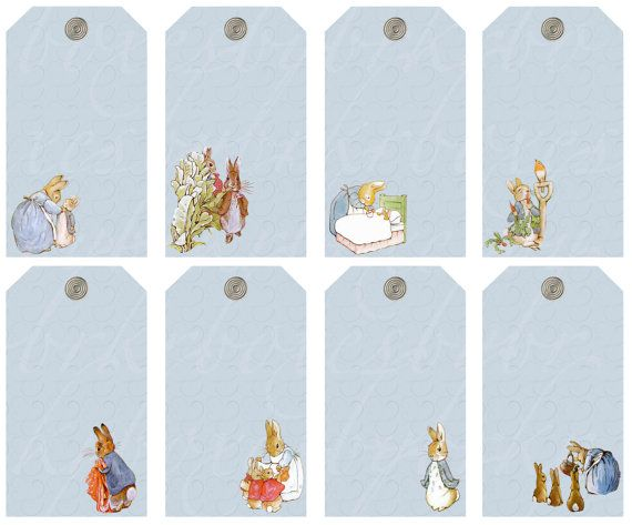 8 peter rabbit tags or wishes cards, 4 X 2.25 inches ...