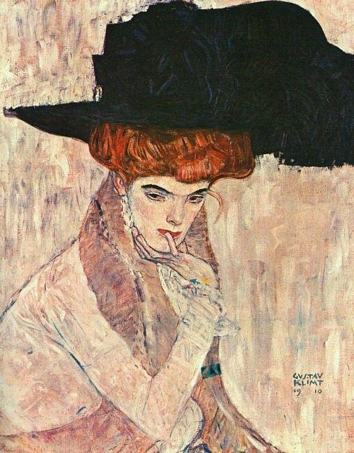 Gustav Klimt: Il cappello di piume nere (1910) olio su tela 79x63. Stile: Simbolismo. Periodo: Opere mature
