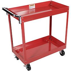 @Overstock.com - Arcan Red Powder Coated Steel Service Cart - Powder coated for durability, this steel service cart is made with heavy-duty construction for long-lasting use. It is bright red with a steel handle and four locking wheels. The professional cart includes two shelves that are each three inches deep.  http://www.overstock.com/Home-Garden/Arcan-Red-Powder-Coated-Steel-Service-Cart/5486694/product.html?CID=214117 $74.95