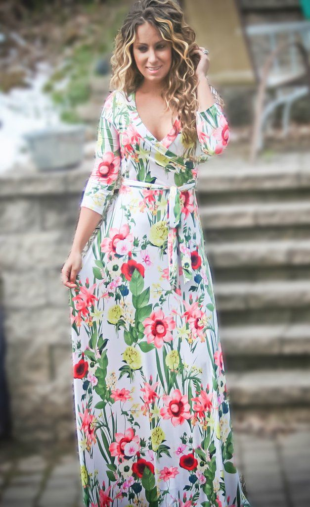 Floral Dress, Floral Print Wrap Maxi Wrap Dress, fashion, Spring Outfit Ideas