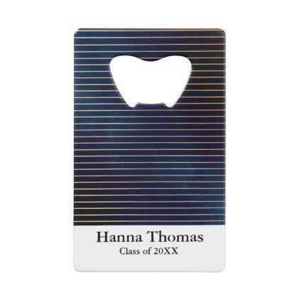 Navy Gold Elegant Stripe Graduation Credit Card Bottle Opener - college graduation gift idea cyo custom customize personalize special