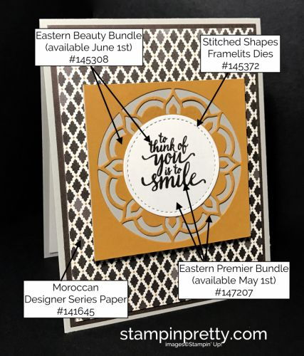 Eastern Beauty & Eastern Medallion thinking of you card using Eastern Palace products.  Mary Fish, Stampin' Up! Demonstrator.  1000+ StampinUp & SUO card ideas.  Read more https://stampinpretty.com/2017/04/michelle-4-15-2017.html