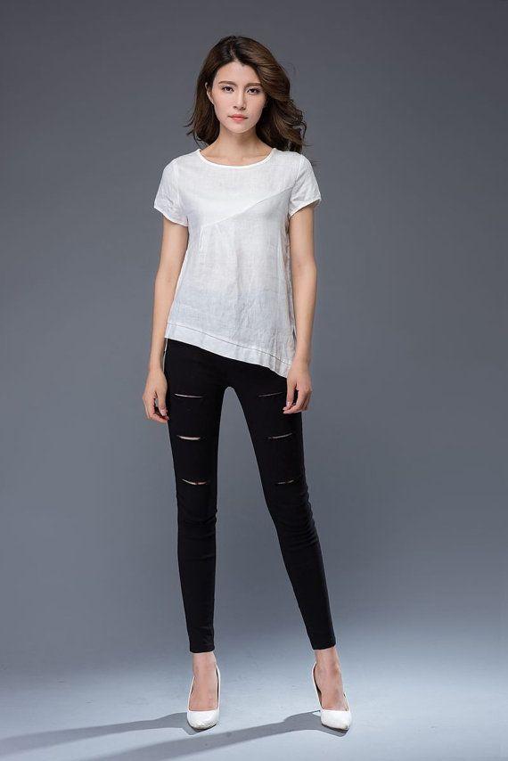 white linen T-shirt irregular T-shirt round neck loose fit