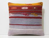 purple pillow 20x20 red pillow cover orange pillow case throw pillow case tapestry throw pillow kelim rug pillow red kilim pillow sham 17298