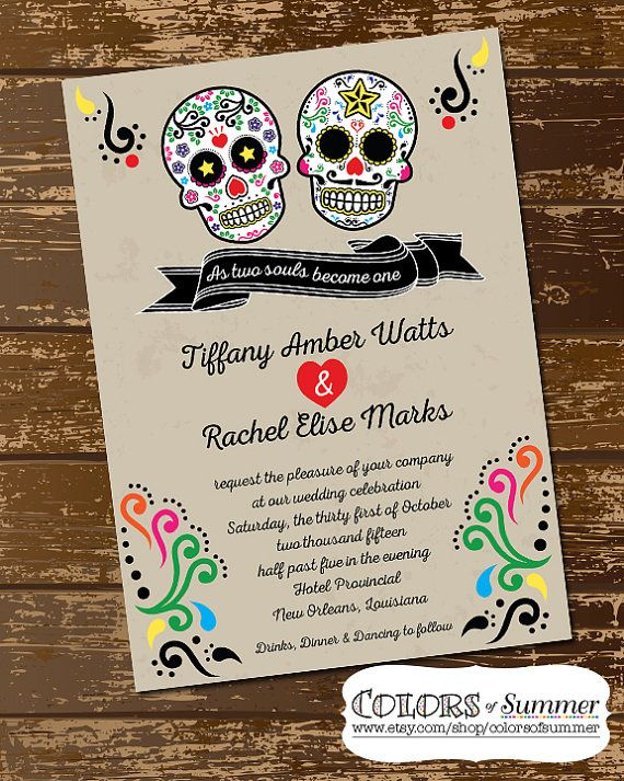 Sugar Skull Wedding Invitation, As Two Souls Become One, Day of the Dead, Halloween, Skull Invite, Till  Dias de Los Mortes  - Digital File