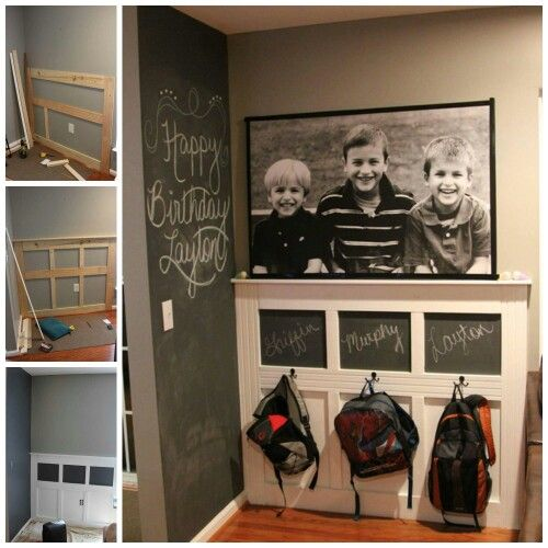 DIY BACKPACK STATION....such a great idea & SO easy to make from Scattershot! Love the chalkboard paint idea. Featured on our BEST Organizing Ideas! http://kitchenfunwithmy3sons.com/2016/02/the-best-diy-home-tips-and-organizing-hacks-and-tips.html/