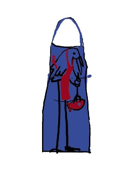 Stork cooks the fish