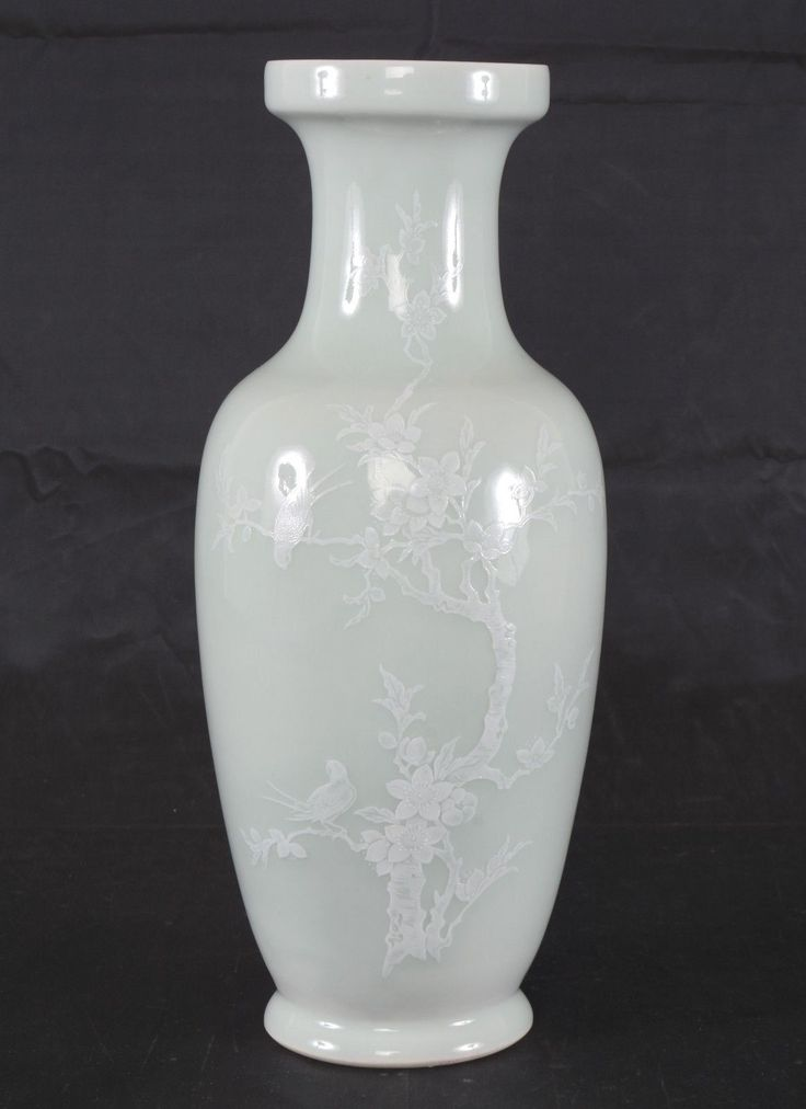 Vintage Chinese Porcelain Celadon Glaze Slip White Enamel Vase Jingdezhen Mark | eBay