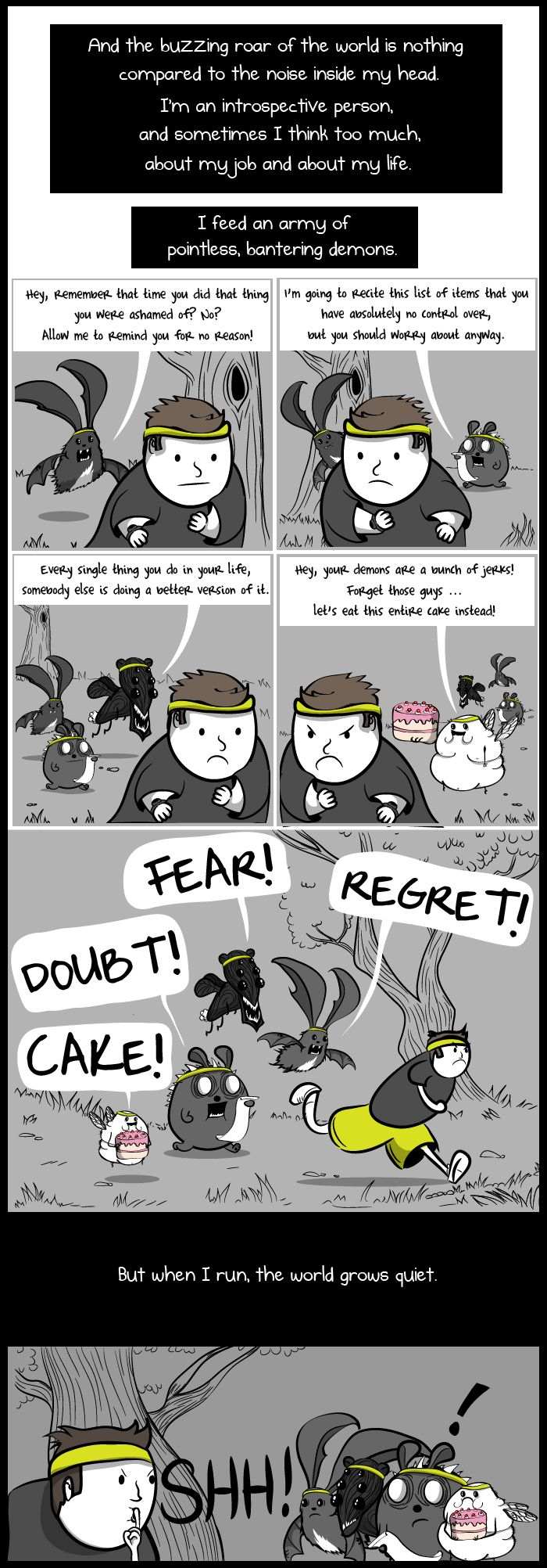 """""""The terrible and wonderful reasons why I run long distances - Part 6 - The Oatmeal"""" Hey, I have those same demons! Cake is a bastard..."""