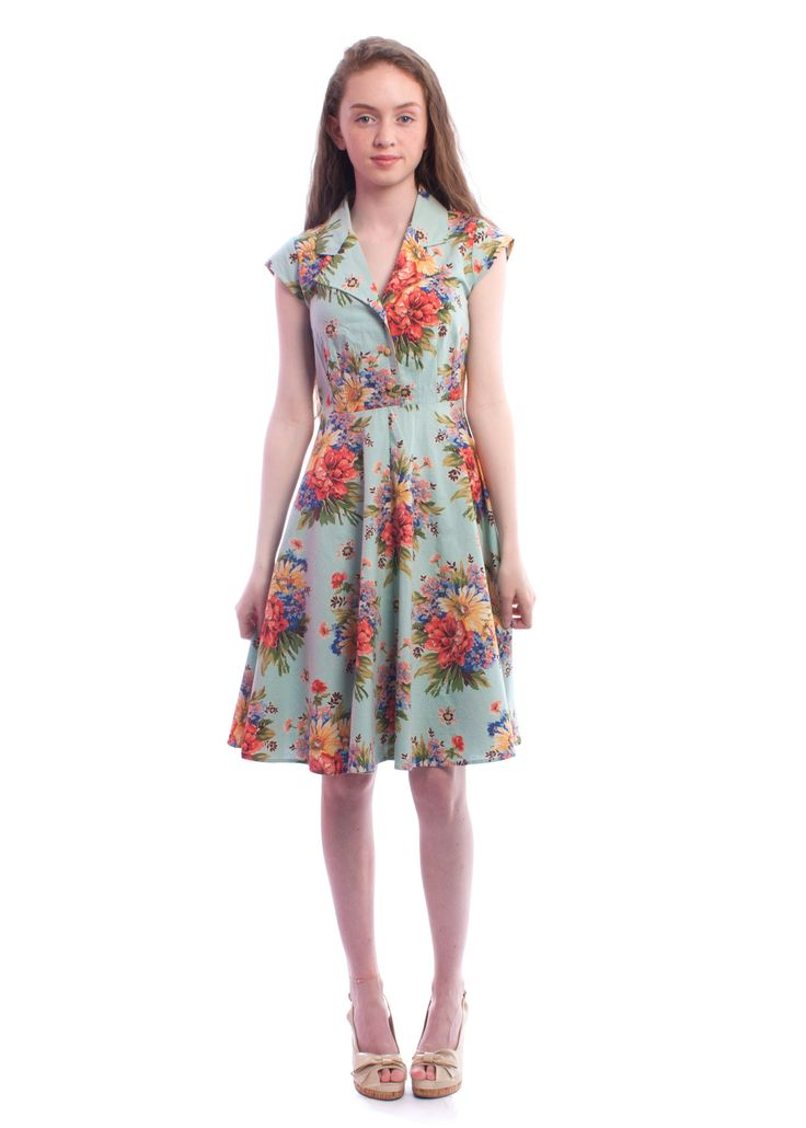 #Floral Ava shirt dress from Circus #1950s #dress #vintagestyle #circus #carousel #summer #style #vintage #retro