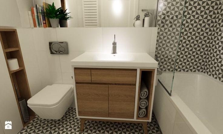 łazienki w stylu skandynawskim - Średnia łazienka bez okna, styl skandynawski - zdjęcie od Grafika i Projekt architektura wnętrz