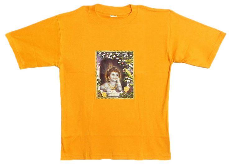 Printed Krishna on Yellow T-Shirt (Cotton)