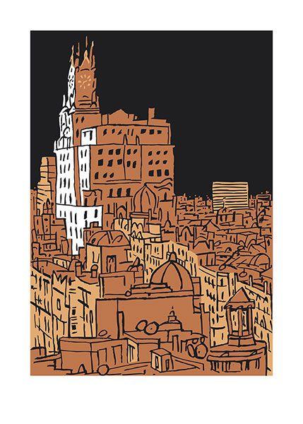 Serigrafías Madrid 01, pertenece a la la carpeta de 4 estampada en el Taller Manolo Gordillo Edición de arte