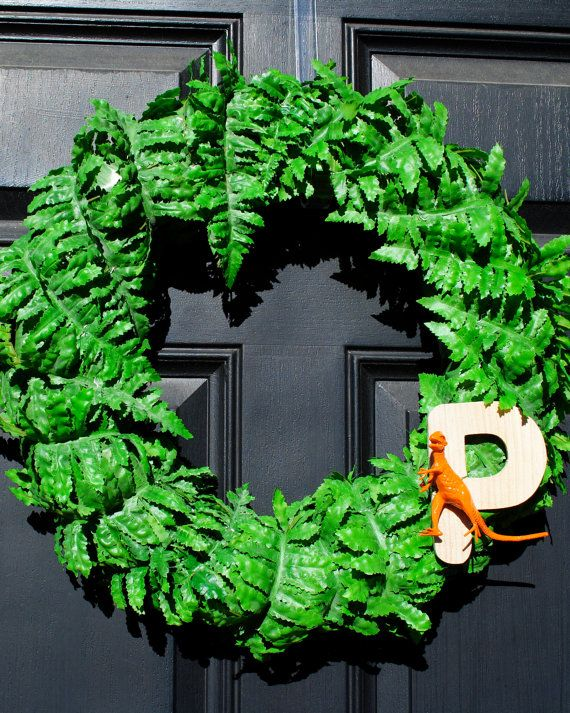 Dinosaur Party Wreath: Add Your Child's First Initial